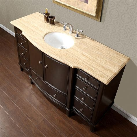 Bathroom Sink Cabinets by 60 Quot Gorgeous Bathroom Travertine Top Single Sink Vanity