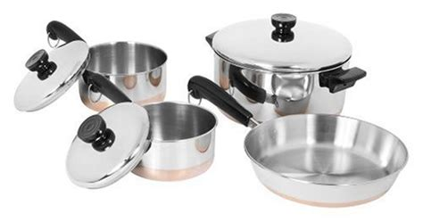 revere ware cookware set  pc copper bottom stainless steel cooking pot pan lids ebay