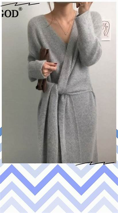 Sweater Office Cashmere Lady Neck Korean Knitted