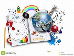 Open Learning Book With Science And Math Stock Photo ...