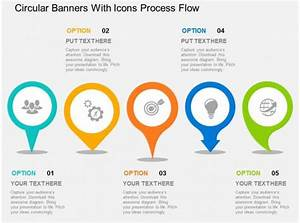 Circular Banners With Icons Process Flow Flat Powerpoint