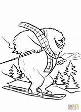 Coloring Yeti Bigfoot Ski Slope Pages Printable Colouring Print sketch template