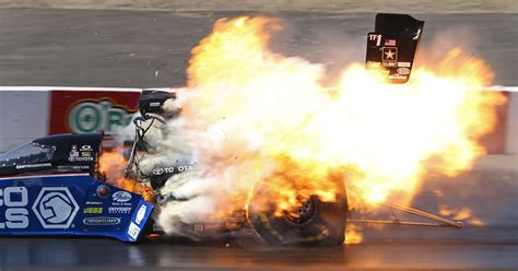 top fuel champ survives fiery crash  nhra opener