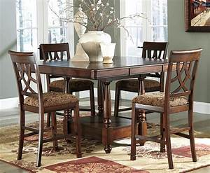 Chicago furniture 5 piece counter height dining set for Counter height dining table sets