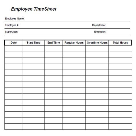 Time Recording Template by 8 Sle Daily Timesheet Templates Sle Templates