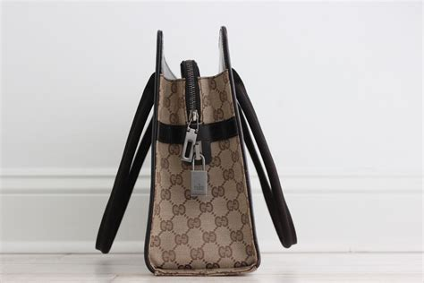 gucci vintage beige ebony gg canvas leather large tote