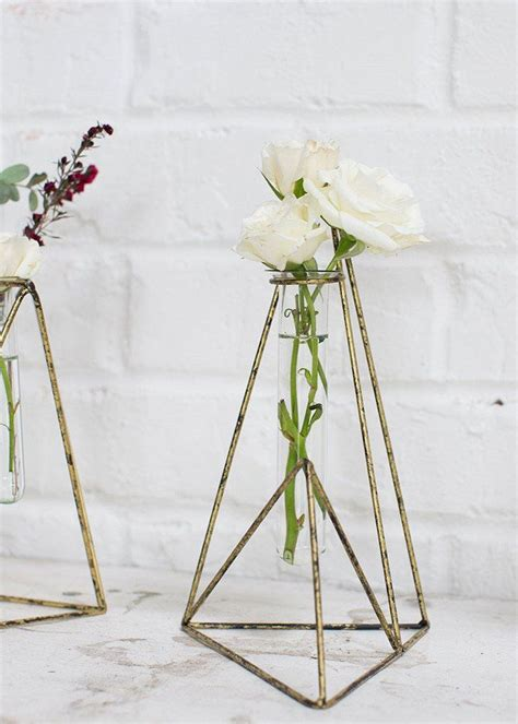 "Metal Vector Geometric Vase 9 25"" Modern wedding"