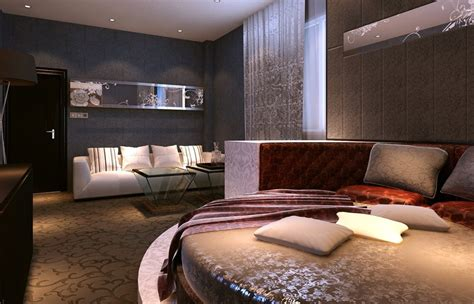 bed and sofa in bedroom 3d house