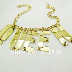 Custom hiphop style large acrylic laser cut letters chian for Acrylic letter necklace