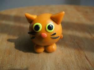 Polymer Clay Cat Orange-Striped and Fat Cat Miniature Figure