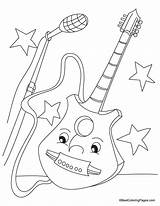 Guitar Coloring Pages Electric Colouring Printable Bass Popular Getcoloringpages Coloringhome sketch template