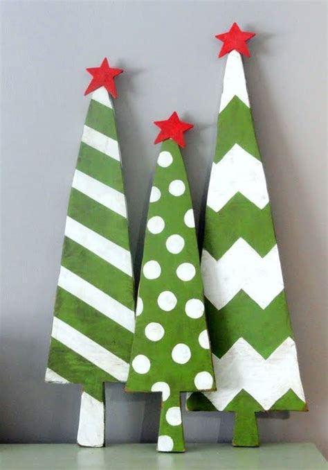 christmas wooden crafts ideas red star green wood tree for
