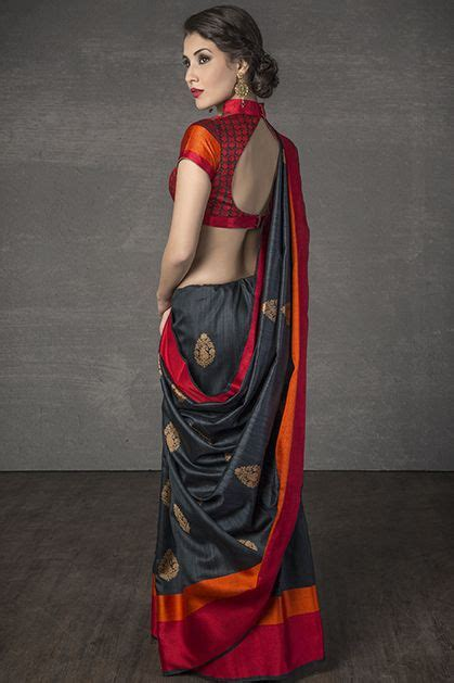 Tight Saree Draping - w14 116 handloom saree weaved in tussar silk glamorous