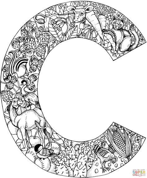 Kleurplaat Mandala Letters by Letter C With Animals Coloring Page Free Printable