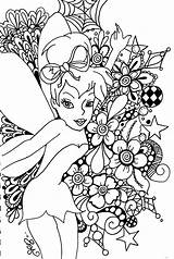 Tinkerbell Coloring Colour Fairy Pages Fairies Printable Adults Colouring Adult Disney Christmas Detailed Tinker Too sketch template