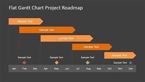 flat roadmap gantt chart with milestones slidemodel With milestone chart templates powerpoint