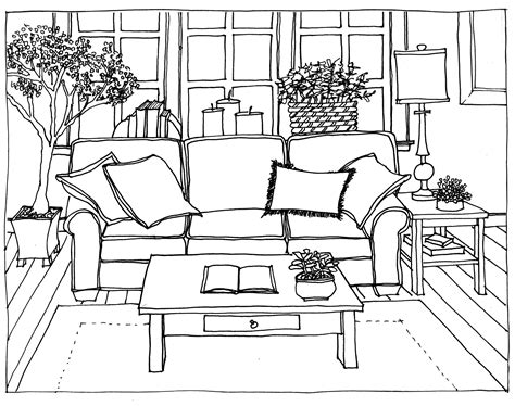 drawing living room perspective   personal  fresh