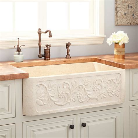 vine design polished marble farmhouse sink cream