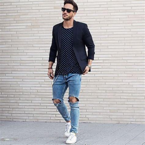 Ripped jeans and black blazer . Menu0026#39;s outfit | Lu0026C | Menu0026#39;s Fashion | Pinterest | Menu0026#39;s outfits ...