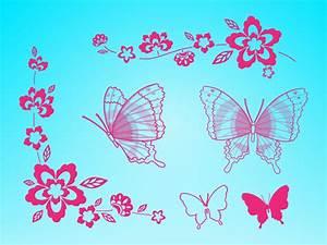 Butterflies Flowers Clip Art