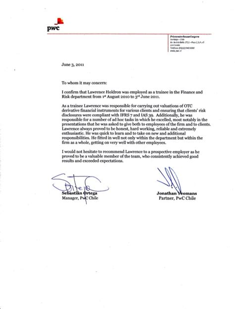 pwc reference letter