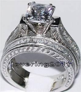 antique topaz diamonique 14kt white gold filled 2 wedding With diamonique wedding rings sets