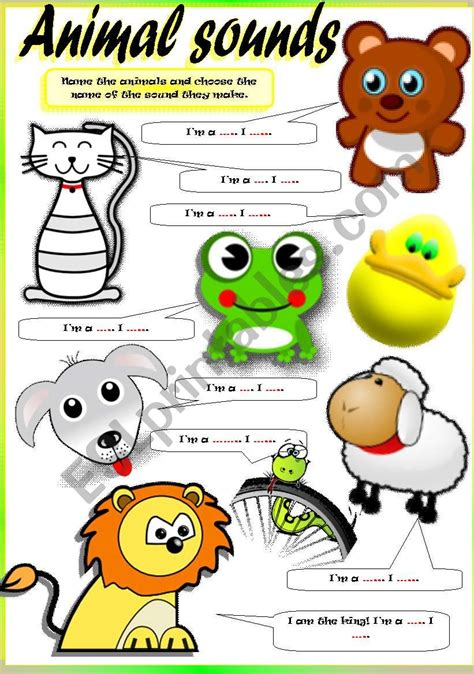 english worksheets animal sounds part