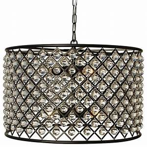 Cassiel oil rubbed bronze round drum crystal chandelier contemporary chandeliers by light