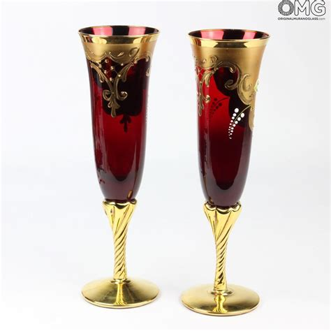 set   trefuochi glasses flute red youme original