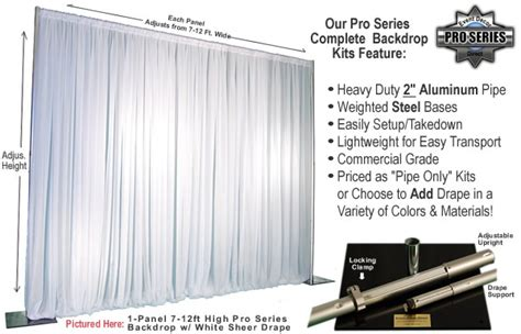 adjustable pipe and drape 2 panel kits 14 24 wide