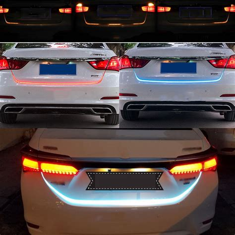ice blue red yellow white led strip lighting rear trunk