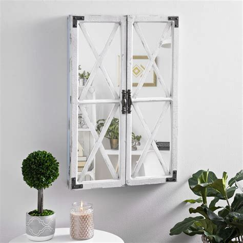 white shutter barn door decorative mirror wall decor
