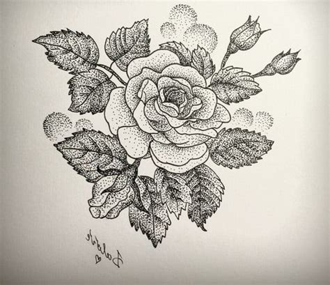 Love Rose Dotwork Tattoo  Best Tattoo Ideas Gallery