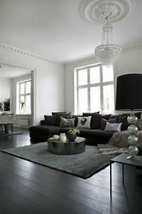 Graue Couch Wohnzimmer : wohnzimmer mit schwarzer couch ~ Michelbontemps.com Haus und Dekorationen