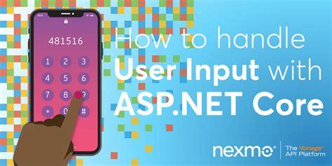 input handle core asp user developer vonage developers