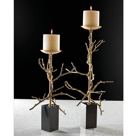 twig candle holder brass small twig candle holder only global views