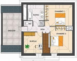 plan maison etage 2 chambres celesteplan maison toit 1 With plan de maison a etage 4 chambres