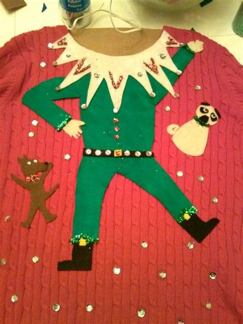 Leg Lamp Christmas Sweater Diy by Homemade Ugly Sweater Ugly Sweater Contest Pinterest
