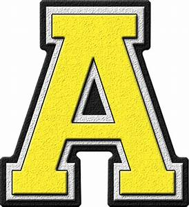 presentation alphabets yellow varsity letter a With big yellow letters