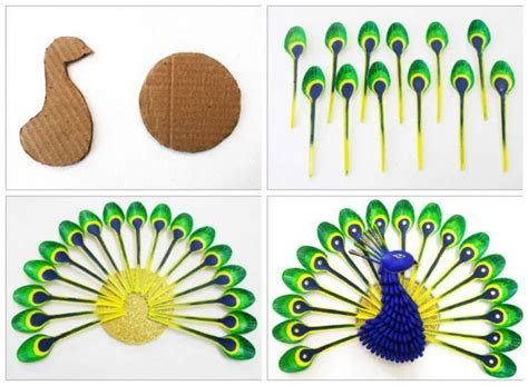 diy    beautiful peacock  plastic spoon