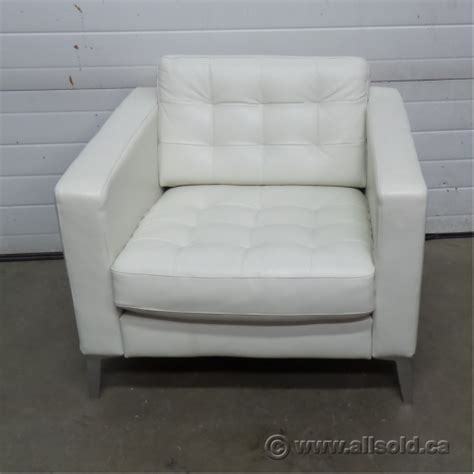 ikea landskrona white leather reception lounge chair