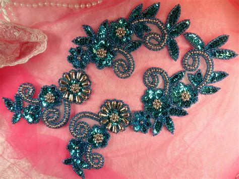 Floral Applique by Sequin Appliques Turquoise Silver Beaded Accents Mirror