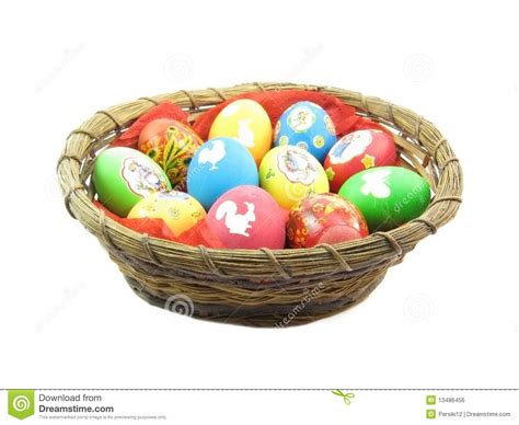Basket Of Easter Eggs Stock Photo. Image Of Wicker, White