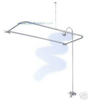 satin nickel clawfoot tub shower with quot d quot curtain rod