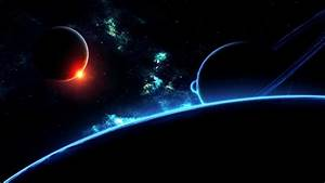 Wallpaper three dark planets and turquoise nebula free ...