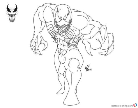 Venom Coloring Pages Black And White Lineart By