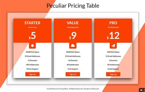 pricing table wlayoutscom