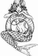 Mermaid Flash Drawings Tattoos Coloring Mermaids Wars Tattoo Darth Rockabilly Cp Boone Cove Uss Stormtrooper Vader Coloriage sketch template