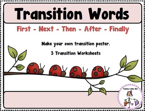 free transition words idea for a poster to hang in your