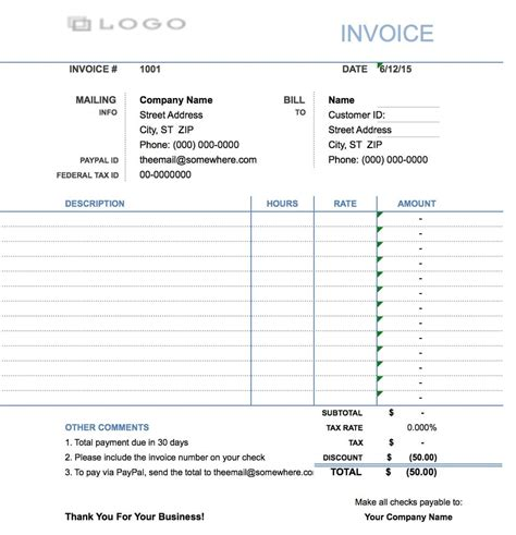 hourly invoice template excel  word